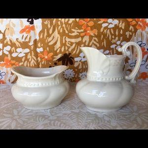 Vintage Lenox Ivory Colonial Creamer & Sugar Bowl